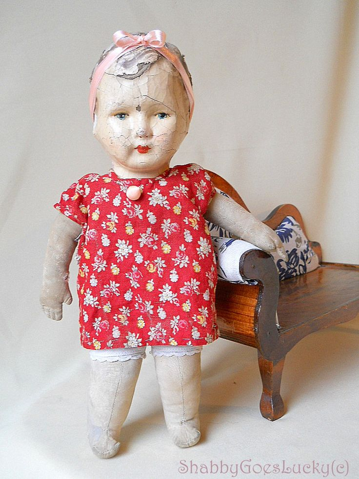 Antique 1920s standing doll, German paper Mache head cloth body doll, 13,5 inch vintage doll, very shabby old doll by ShabbyGoesLucky on Etsy