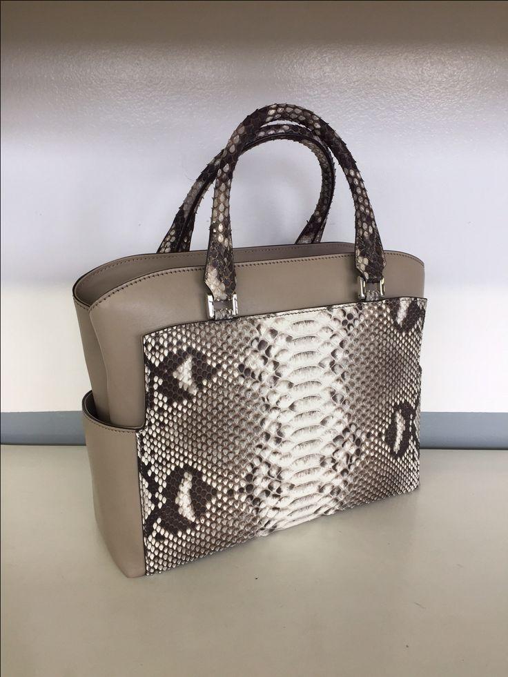 genuine Python and Calf skin handbag