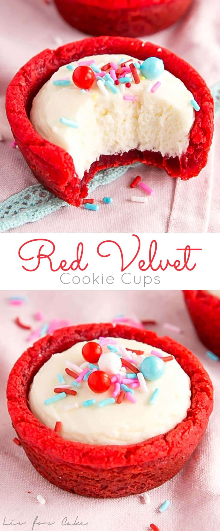 These Red Velvet Cookie Cups are a fun and easy treat to make for the one you love! Cinnamon spiced cookies with a fluffy cheesecake filling.   livforcake.com