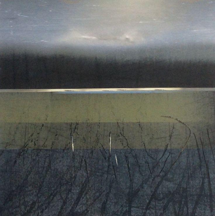 Evening 30x30cm etching/mixed media by Inger Karthum