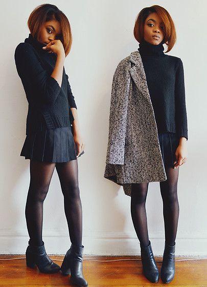Alicia Nicholls - American Apparel Tennis Skirt, H&M Turtleneck Sweater, Forever 21 Wool Blend Herringbone Coat, Aldo Gabba Ankle Boots - Turtleneck + mini skirt