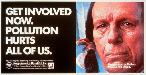 """The original """"crying Indian"""" - These ads appeared on NYC subway trains and stations."""