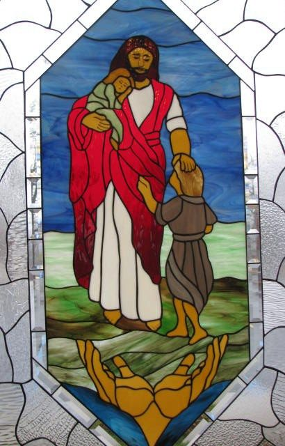 3) God the Son: Jesus and the Children - Kent Lutheran Church, Sunrise Beach, MO (Lake of the Ozarks) by Les & Sandy Burnett  - GlassMoose.com (formerly Art-Attack-Studios)