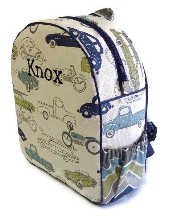 Toddler Backpack, Preshool Backpack, Boys Backpack, Chevron Backpack, Cars Backpack,  Retro Rides Backpack