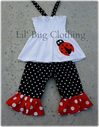 Custom Boutique Clothing Summer Lady Bug Dots by LilBugsClothing, $42.00