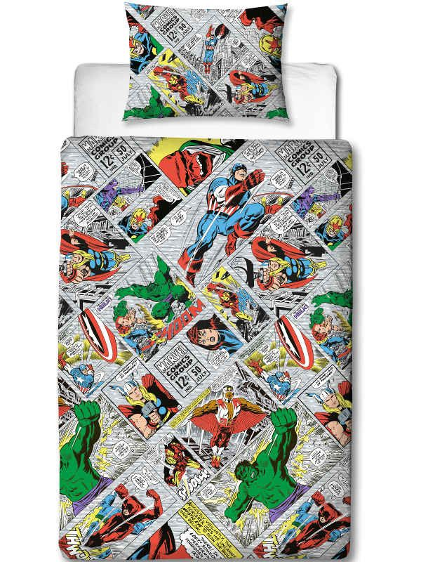 Marvel Comics Retro Single Duvet Cover Set Polyester £12.95 Free UK Delivery
