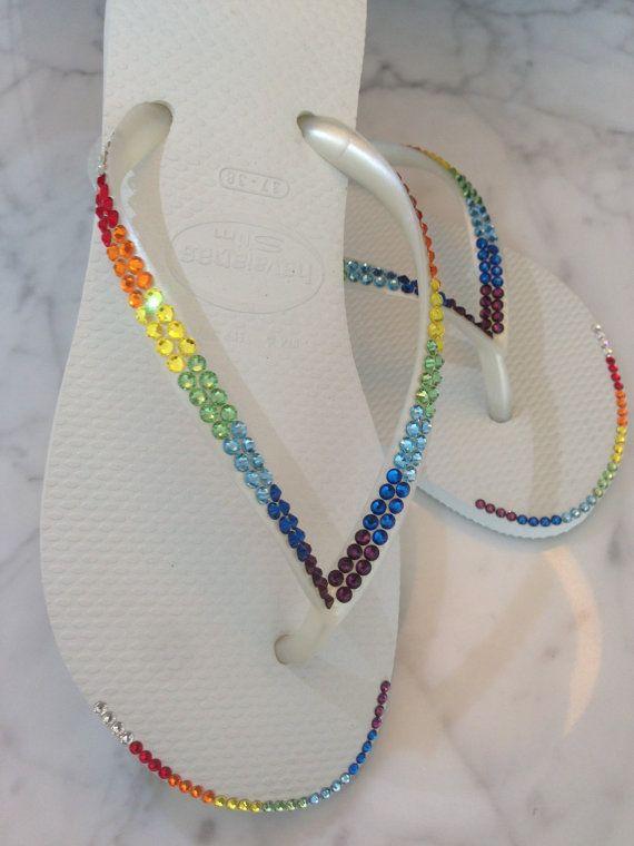 Swarovski Havaianas Flip Flops in Rainbow with Crystal by GemMii