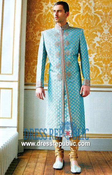 Style DRM1009, Product code: DRM1009, by www.dressrepublic.com - Keywords: Pakistani Mens Sherwani, Grooms Sherwani, Indian Mens Sherwani