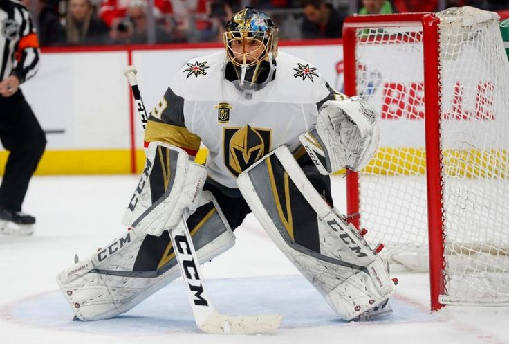 Vegas Golden Knights goalie Marc-Andre Fleury took a shot off his mask in the first period and did not return in a 4-1 home victory Tuesday night over the Vancouver Canucks.
