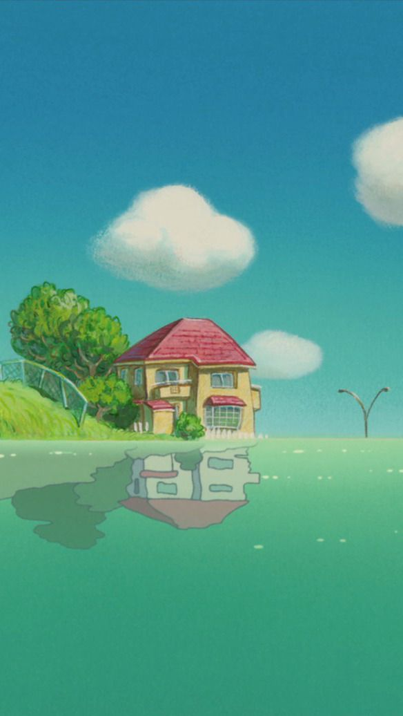What Im Doing With Ma Life Russian Style Ainaru Ponyo On The Cliff By The Sea Phone Ghibli Artwork Studio Ghibli Movies Anime Scenery