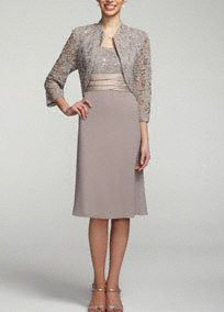 Chic, stunning, and above all stylish! You will not be missed in this beautiful lace and chiffon jacket dress!   Sleeveless bodice features elegant and classy lace detail.  Ruched empire waist sash helps create a stunning silhouette.  Chiffon skirt gives this already breathtaking ensemble a flowy feel.  3/4 lace jacket adds just the right amount of coverage.  Fully lined. Back zip. Imported poly/nylon/spandex blend. Professional spot clean. Available in Plus sizes as Style 1155W.