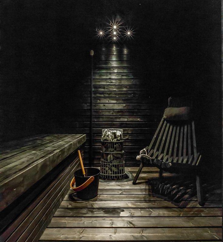 Dark but modern sauna