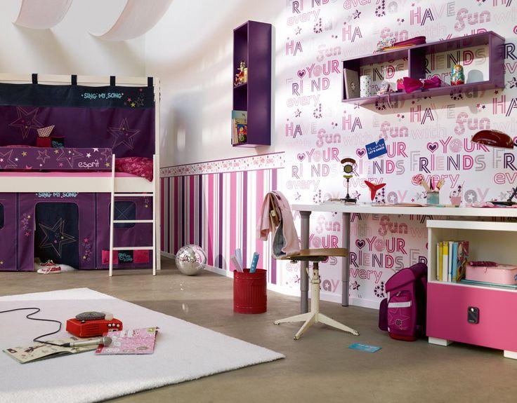 Kindertapete Esprit Kids Streifen Lila Pink 2169 15