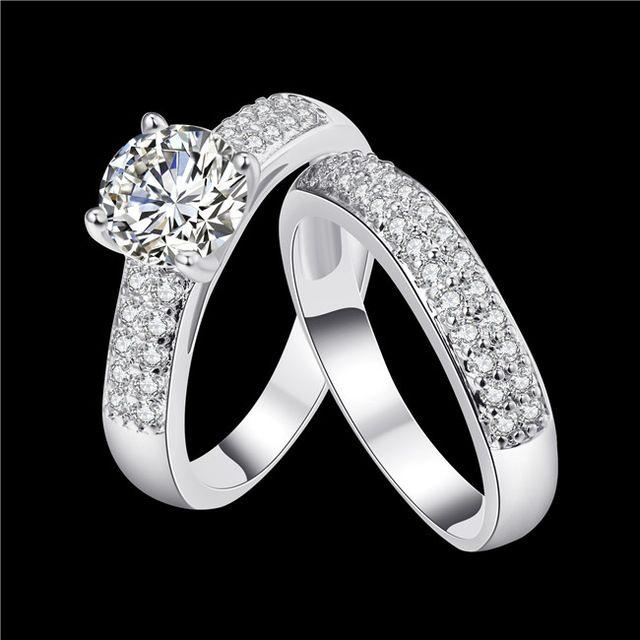 Мода классический стиль королева Кольцо позолоченные ААА класса цирконий участие двойное кольцо Новый Дизайн