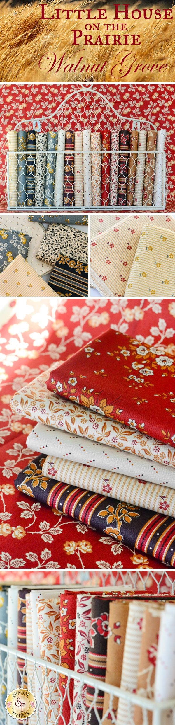 Little House On The Prairie Walnut Grove by Kathy Hall for Andover Fabrics is a floral fabric collection available at Shabby Fabrics