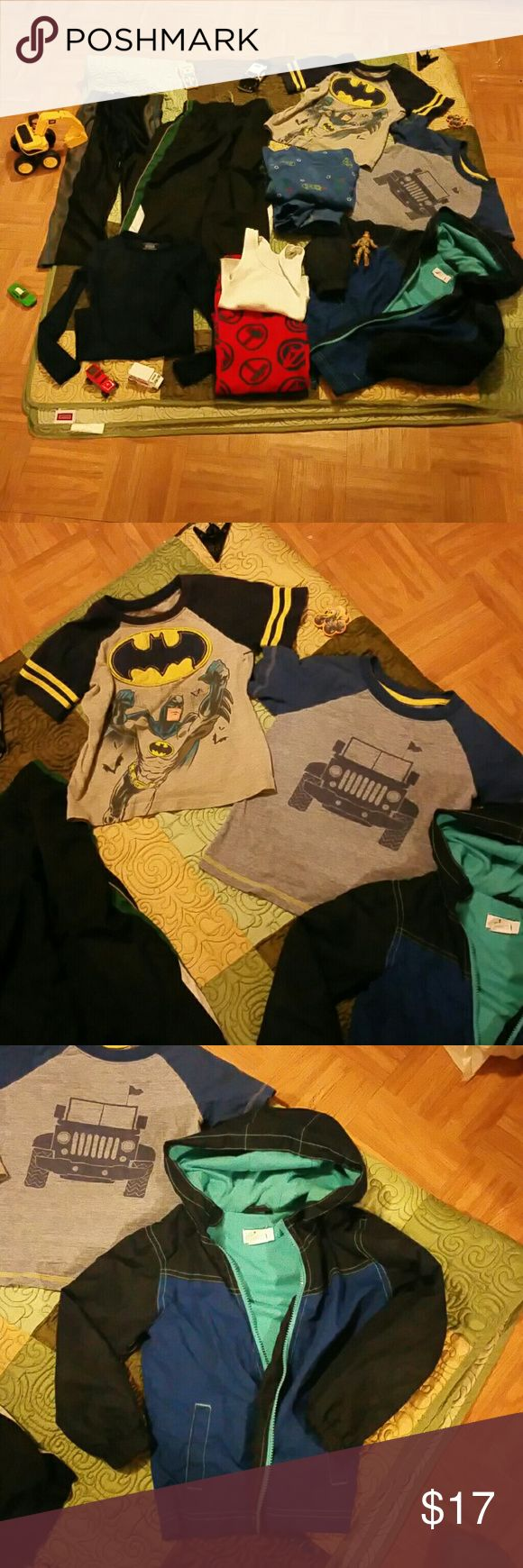 ¤¤Boys Bundle¤¤  size 4T, one 6/7 1 batman shirt,  1 shirt with jeep/truck, 1 windbreaker jacket- has my son's name on inside,  1 compression long sleeve size 6/7- my son wore this at age 4 (runs small).  2 wind/track pants ( green striped pant has small unsewn section at seam on back, only noticed it when reviewing for posting ).  Also 1 matching PJ set ( has tear at knee)  and another PJ set matched together by my little one- Thor pants with white tank.  All size 4T , except long sleeve…
