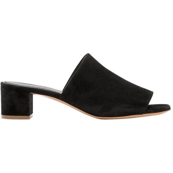 Mansur Gavriel Women 40mm Suede Mule Sandals ($435) ❤ liked on Polyvore featuring shoes, sandals, black, mule sandals, black suede mules, open toe sandals, black mule shoes and black mid heel sandals