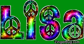 Lisa Rainbow Peace Sign Glitter Name Glitter Graphic, Greeting, Comment, Meme or GIF