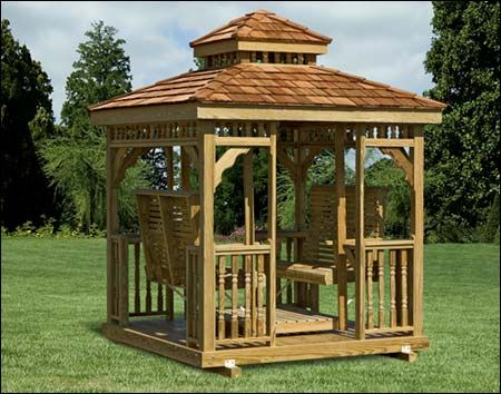 Treated Pine Hip Roof Gazebo Swing Shown With Optional