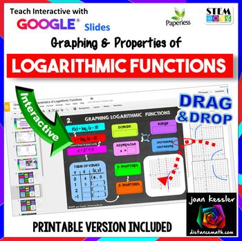 This Google Slide interactive resource is a new engaging rigorous way for your students to practice graphing and determining the characteristics of Logarithmic Functions. It is engaging and fun, plus it is NO PREP for you. There are two pages of guided notes for