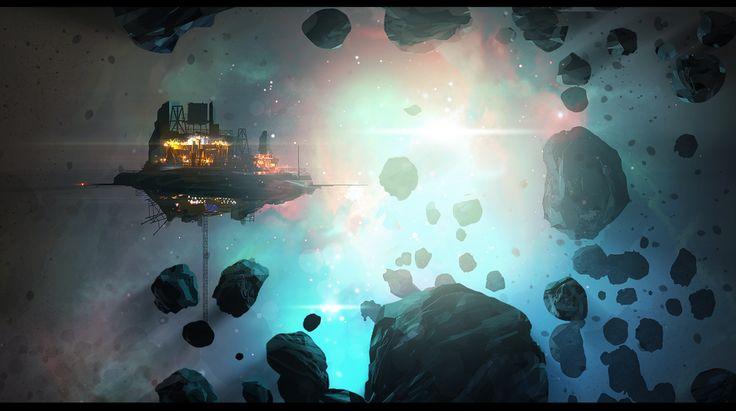 Speedpainting: Asteroid Mining Rig by rickystinger88.deviantart.com on…