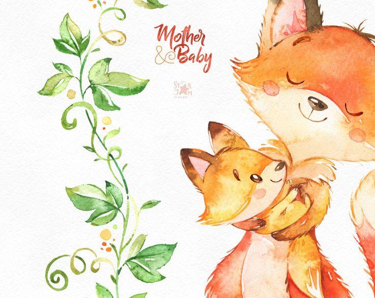 Mother & Baby. Clipart animali dell'acquerello volpe