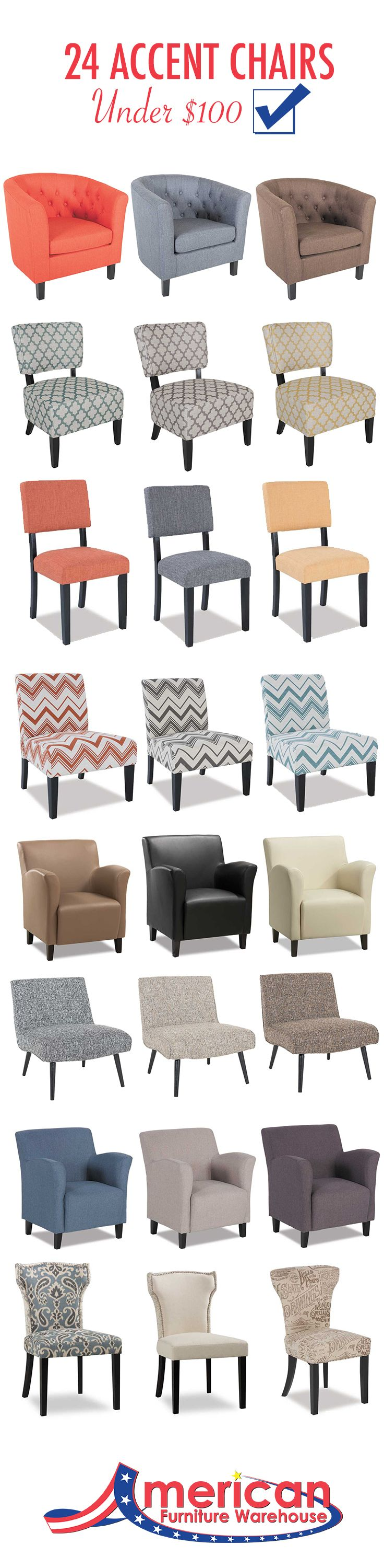 This is AWESOME! The ultimate list of affordable accent chairs, all under $100 and all available at the same store (American Furniture Warehouse)!