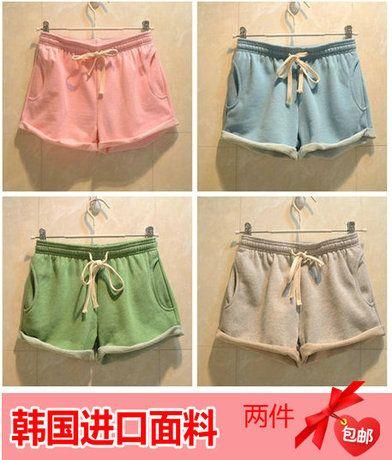 2014 летние новых корейских ярдов упругой шнурок хлопка конфеты цветные шорты керлинг тонкие случайные шорты - Taobao