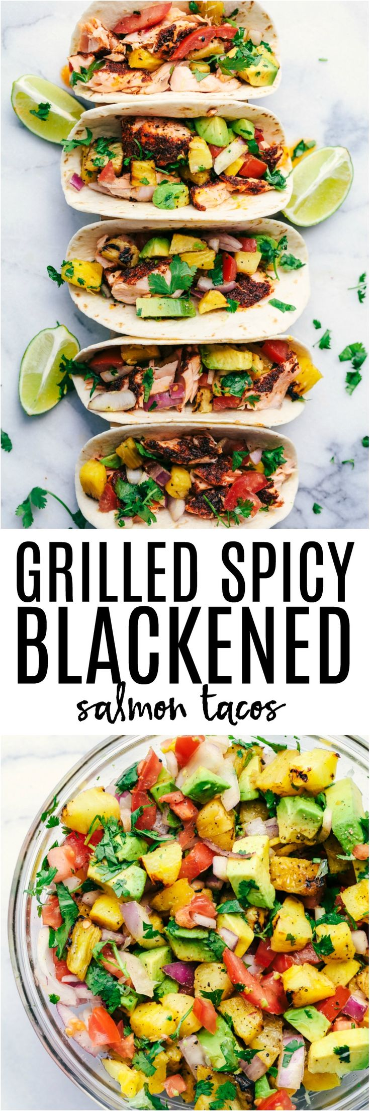 Grilled Spicy Blackened Salmon Tacos are grilled to perfection with a delicious spicy crust.  They get topped with a fresh grilled pineapple avocado salsa.  These tacos are fresh and light and the flavors are out of this world!
