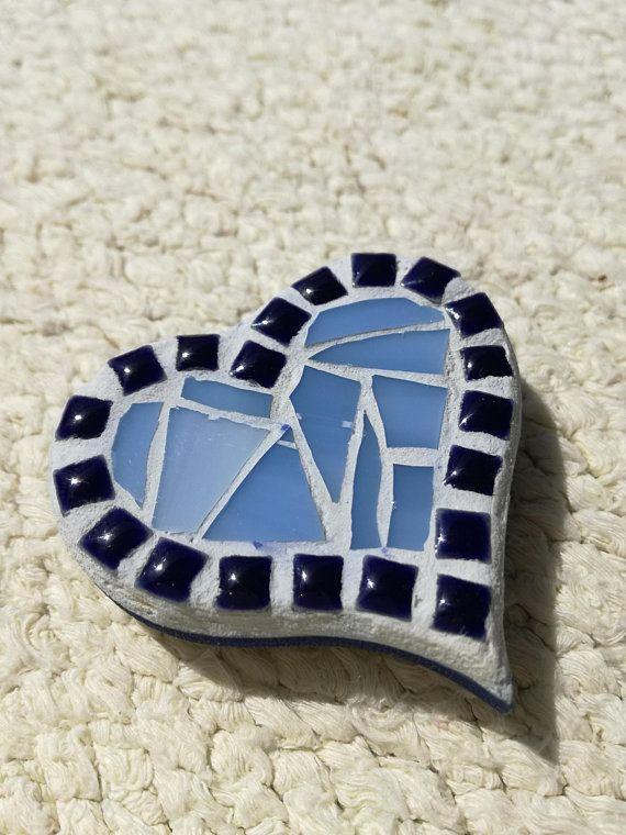 Tiny mosaic heart, Blue magnet heart for fridge