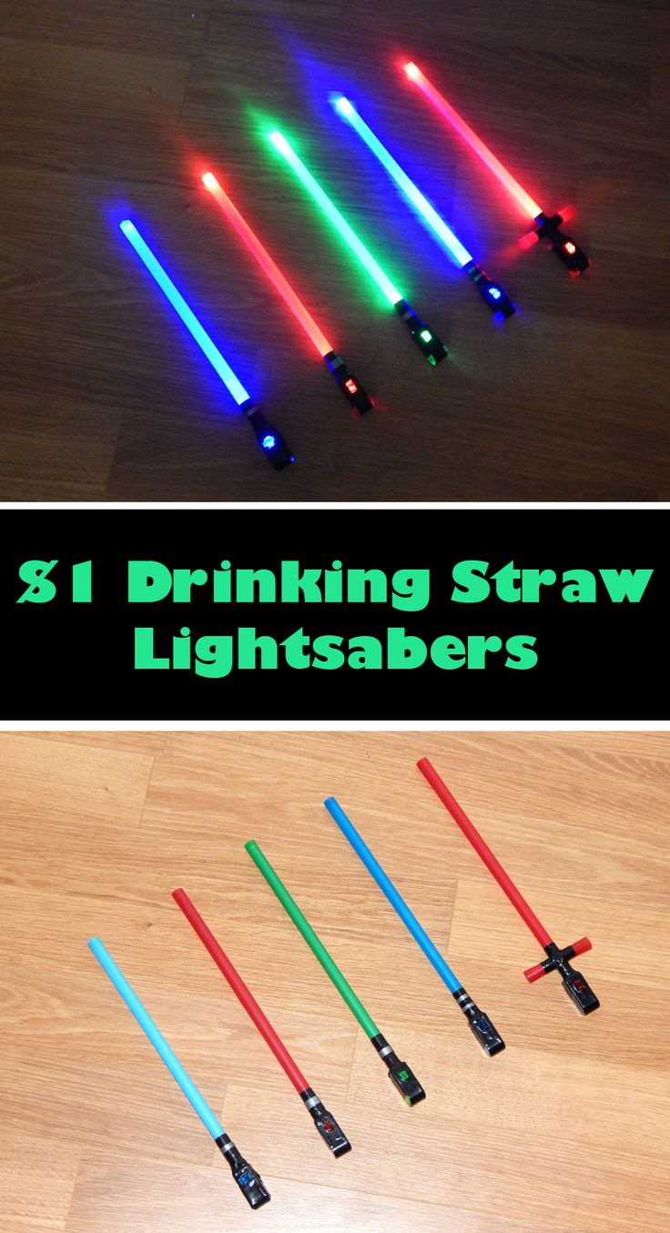 Don't be surprised if you find yourself making your own lightsaber sounds as you swing these around. Easy & fun to make! #starwars