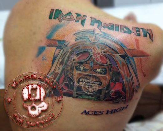 #tattoo #tattooist #tattooed #bestspaintattooartist #colortattoo #ironmaiden #ironmaidentattoo #aceshigh #aceshightattoo #edddietattoo