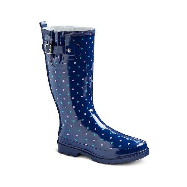 Women's Western Chief Dotted Rain Boots - Navy ($40) ❤ liked on Polyvore featuring shoes, boots, navy, wellies boots, wellies shoes, polka dot rubber boots, navy blue polka dot shoes and navy shoes