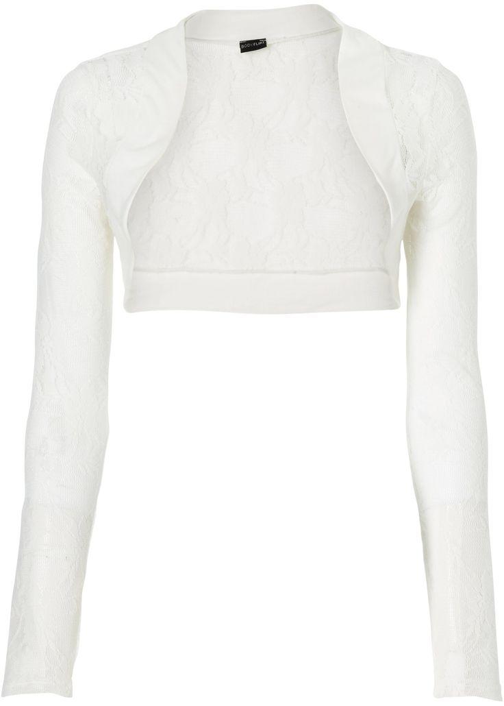 Bekijk nu:Modieuze musthave! Trendy bolero van kant voor elke gelegenheid. Het perfecte accessoire voor topjes en jurken. Met lange mouwen en jersey inzetstukken op de zomen. Lengte ca. 46 cm.