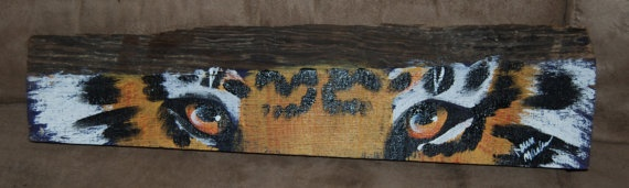 Tiger Eyes Painted on Virgin Cypress Lumber by BadnessCraft, $60.00