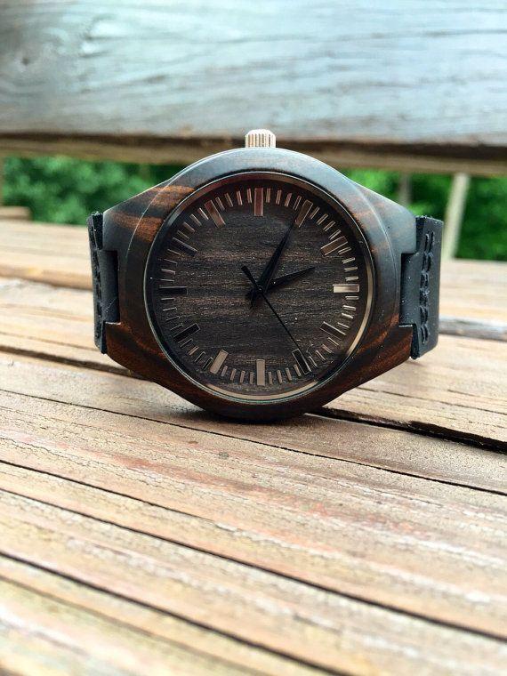 Mens Dark Ebony Real Wood Watch, Engraved Wooden Watch, Gift for him, Mens Wooden Watch, Wedding Gift, Anniversary Gift, Groomsmen Gift
