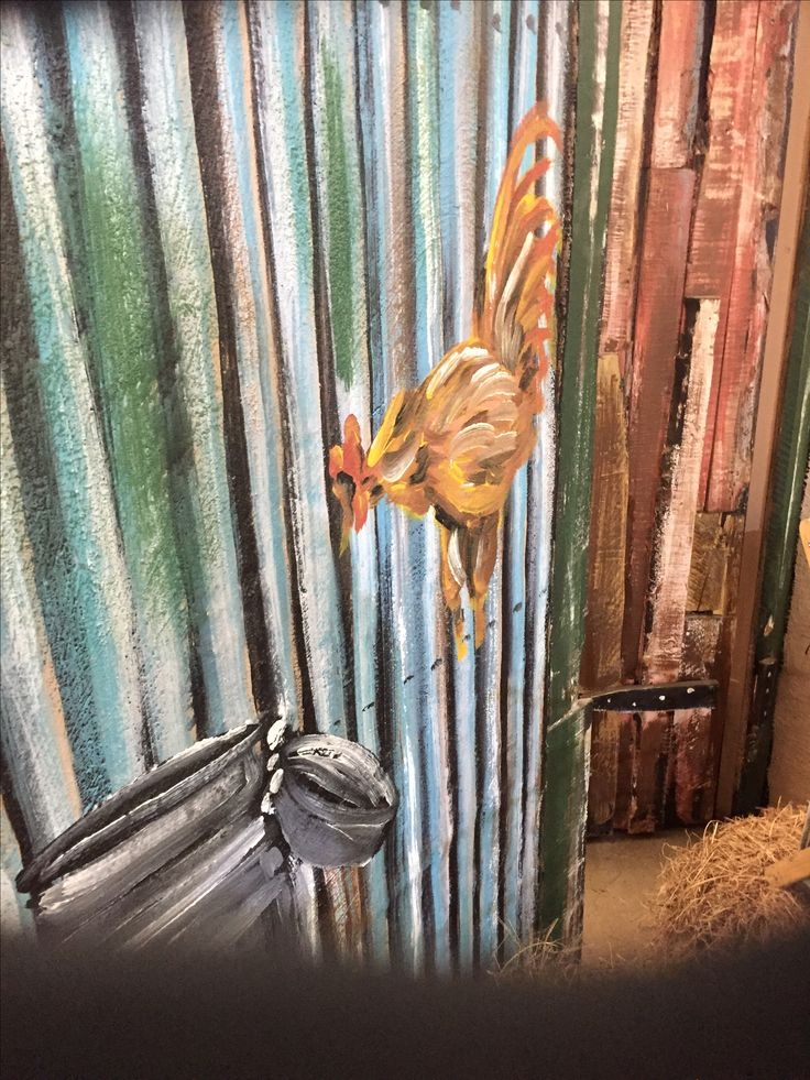Chicken Painted on corrugated iron