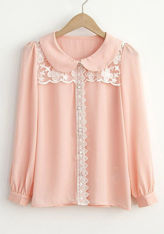 Pink Peter Pan Collar Puff Sleeve Chiffon Blouse.