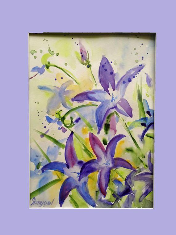 Original watercolor painting watercolor  flowers floral wall