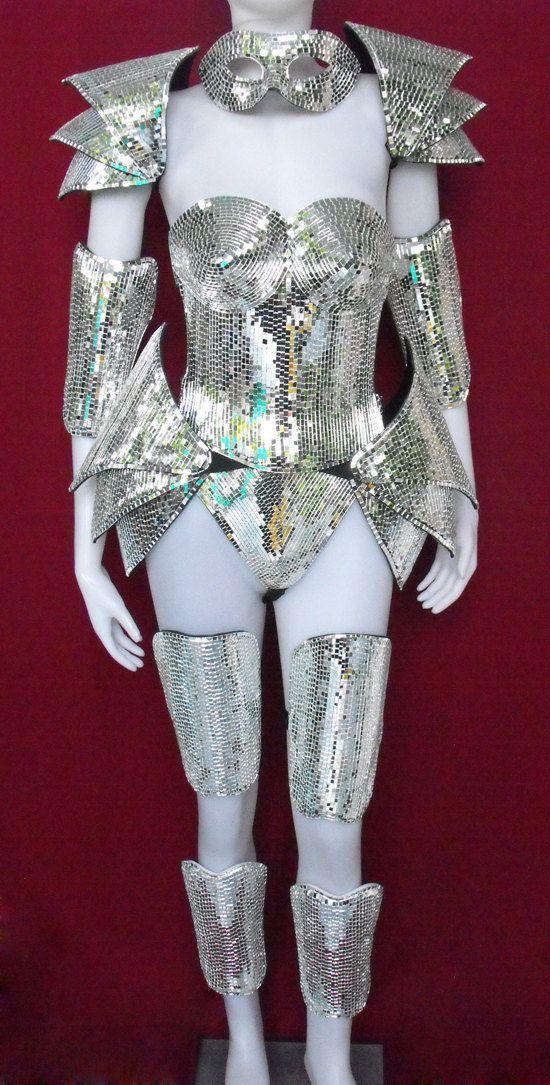 Robot Roman Warrior Lady Gaga Man Woman Mirror Costume Set