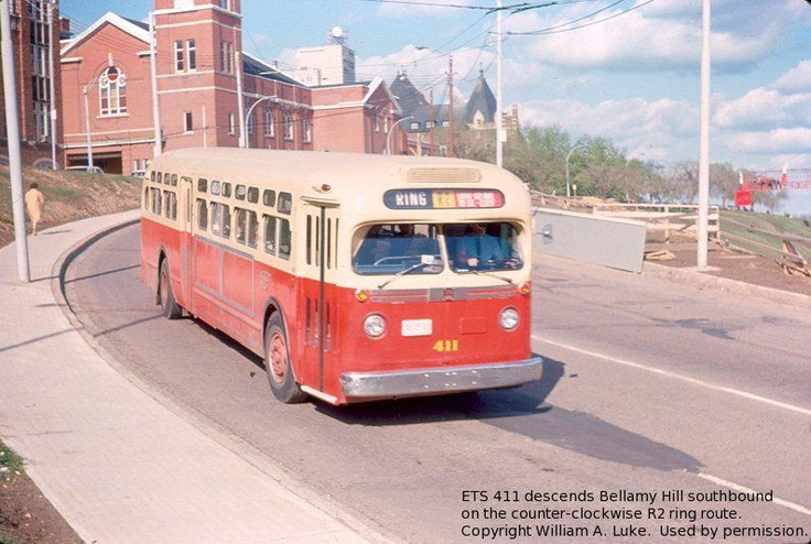Edmonton Transit System route # 411 descends Bellamy Hill Southbound on the counter-clockwise R2 ring route. Copyright William.A.Luke Image Courtesy of Vintage Edmonton https://www.facebook.com/TheVintageEdmonton