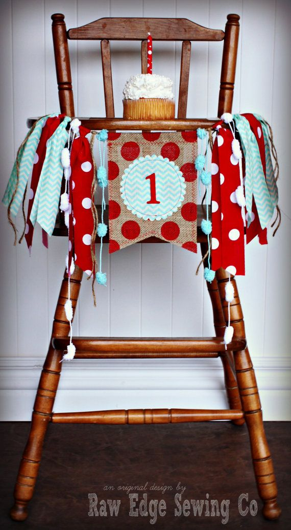 SOCK MONKEY Birthday High Chair Highchair by RawEdgeSewingCo