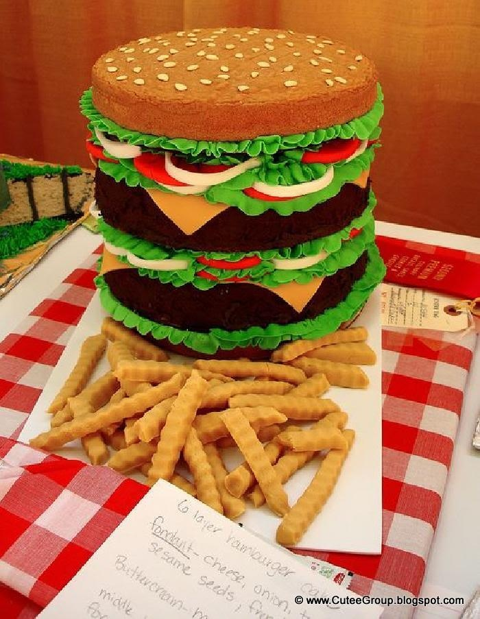 Hamburger layer cake - a show stopper at a BBQ! Impressive!