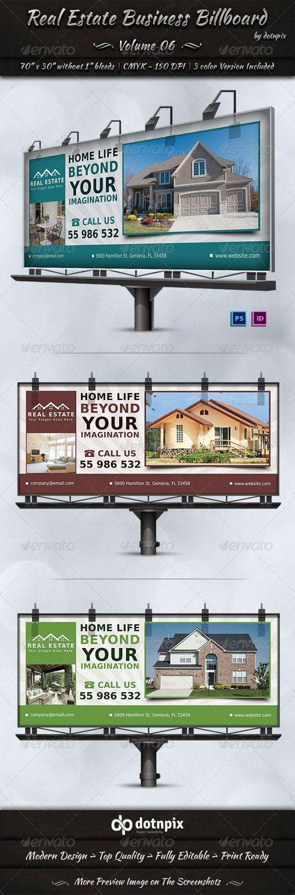 Real estate billboard design samples - Real estate business billboard template design ads download http graphicriver