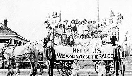 This picture here is of a Sunday school group attempting to sway the local populace's position on the subject of prohibition. Prohibition was both introduced and repealed in most provinces in the 1920s. The prohibition that was imposed at the time led to a sort of cultural shift where criminals began to be idolized. Mobsters who smuggled alcohol were admired and many people began to spend their time in illegal clubs called speakeasies.
