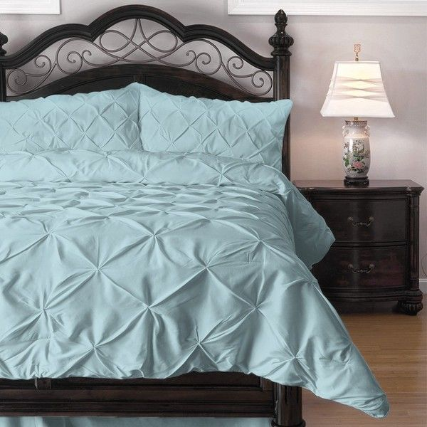 Amazon.com - 4 Piece Pinch Pleat Puckering Comforter Set by... (115 CAD) ❤ liked on Polyvore featuring home, bed & bath, bedding and comforters