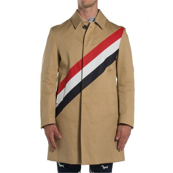 Trench ($2,276) ❤ liked on Polyvore featuring men's fashion, men's clothing, men's outerwear, men's coats, beige, menclothingcoats & jackets, mens long coat, mens long trench coat and mens trench coat
