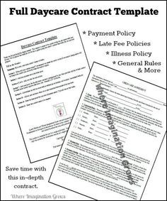 Daycare Contract Template. 25 beste ideeën over daycare contract ...