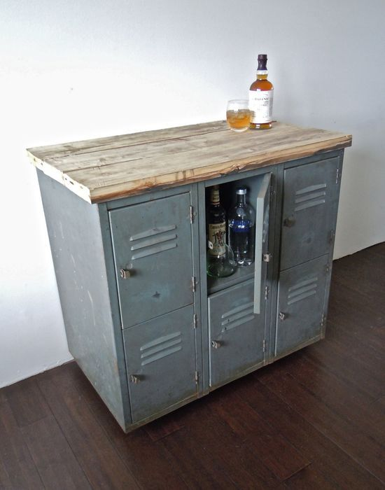 vintage metal lockers with reclaimed wood top on casters // industrial bar storage cabinet // kitchen island.