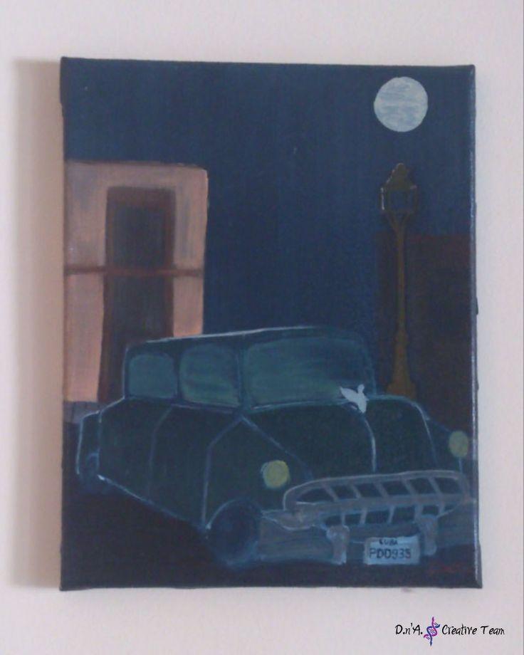 -CUBAN CAR -Oil painting on canvas -Measures: 23x30 cm  https://www.etsy.com/listing/213094831/cuban-car-oil-painting-dark-colours-on?ref=shop_home_active_1